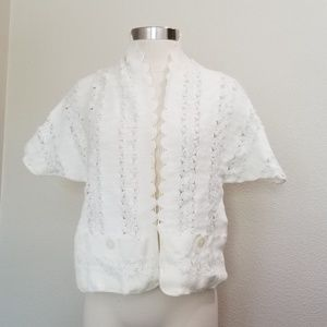 Vintage 1950s shawl white with silver accents